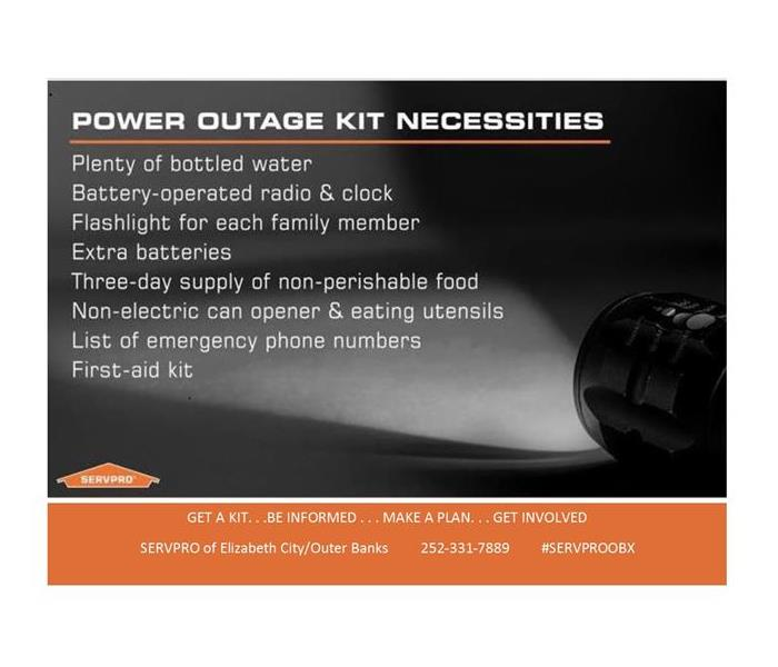 Power Outage Kit Necessities,bottled water, battery operated radio,flashlights, non-perishables, first aid kit, emergency #'s